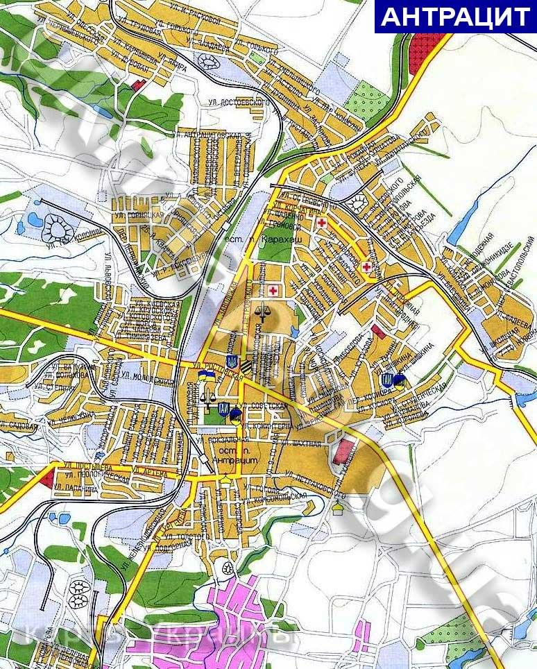 карта антрацита с улицами