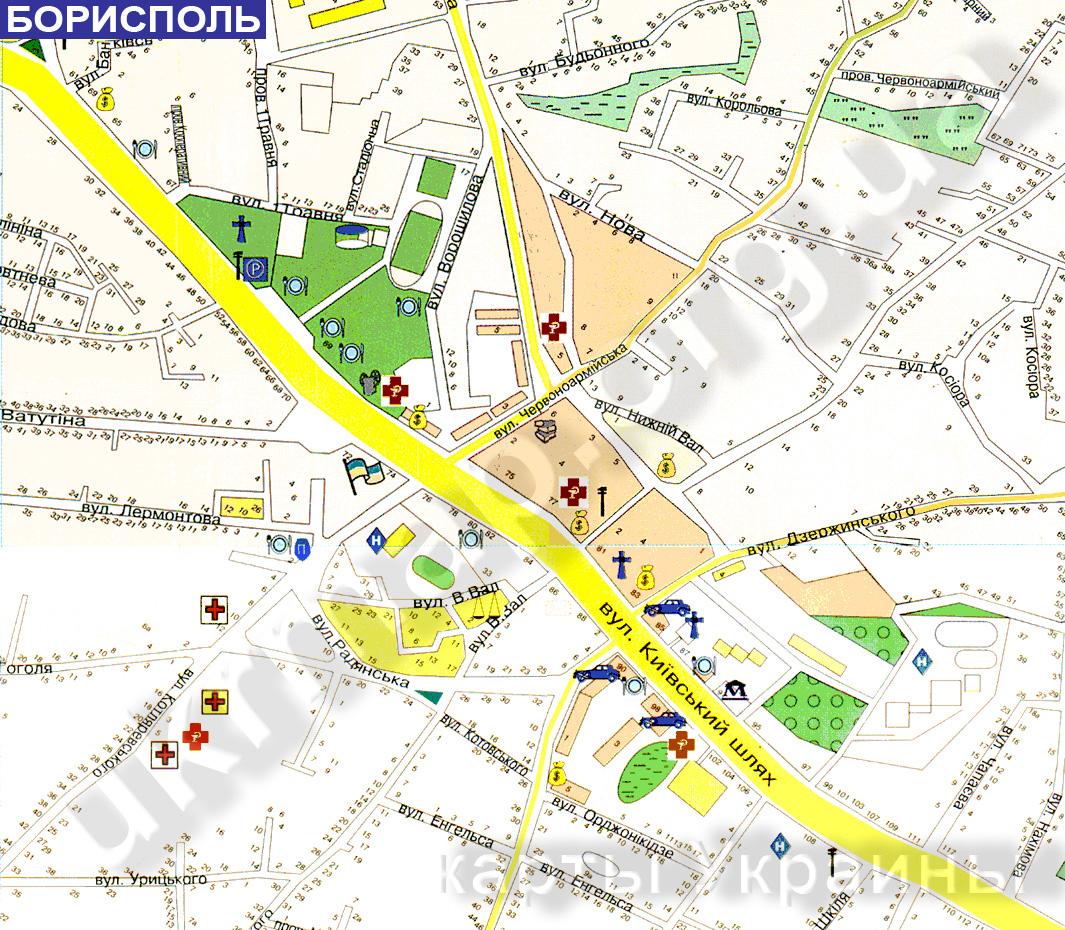 Карта борисполь схемы улиц номера домов