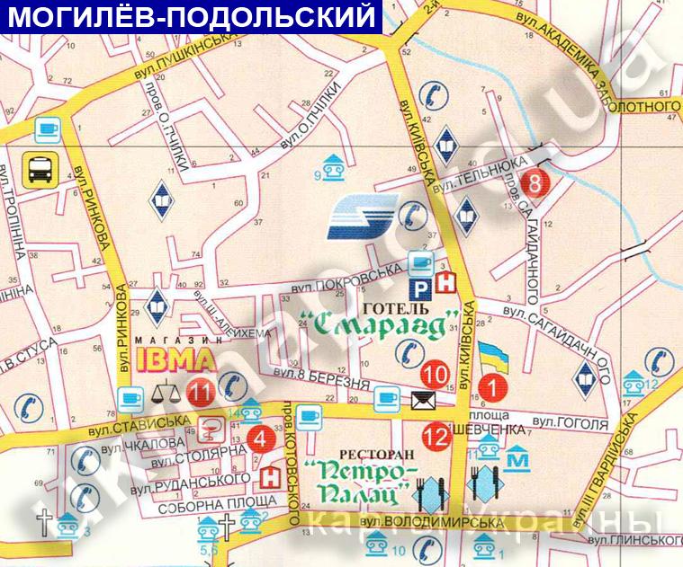 Карта Могилев-Подольский с