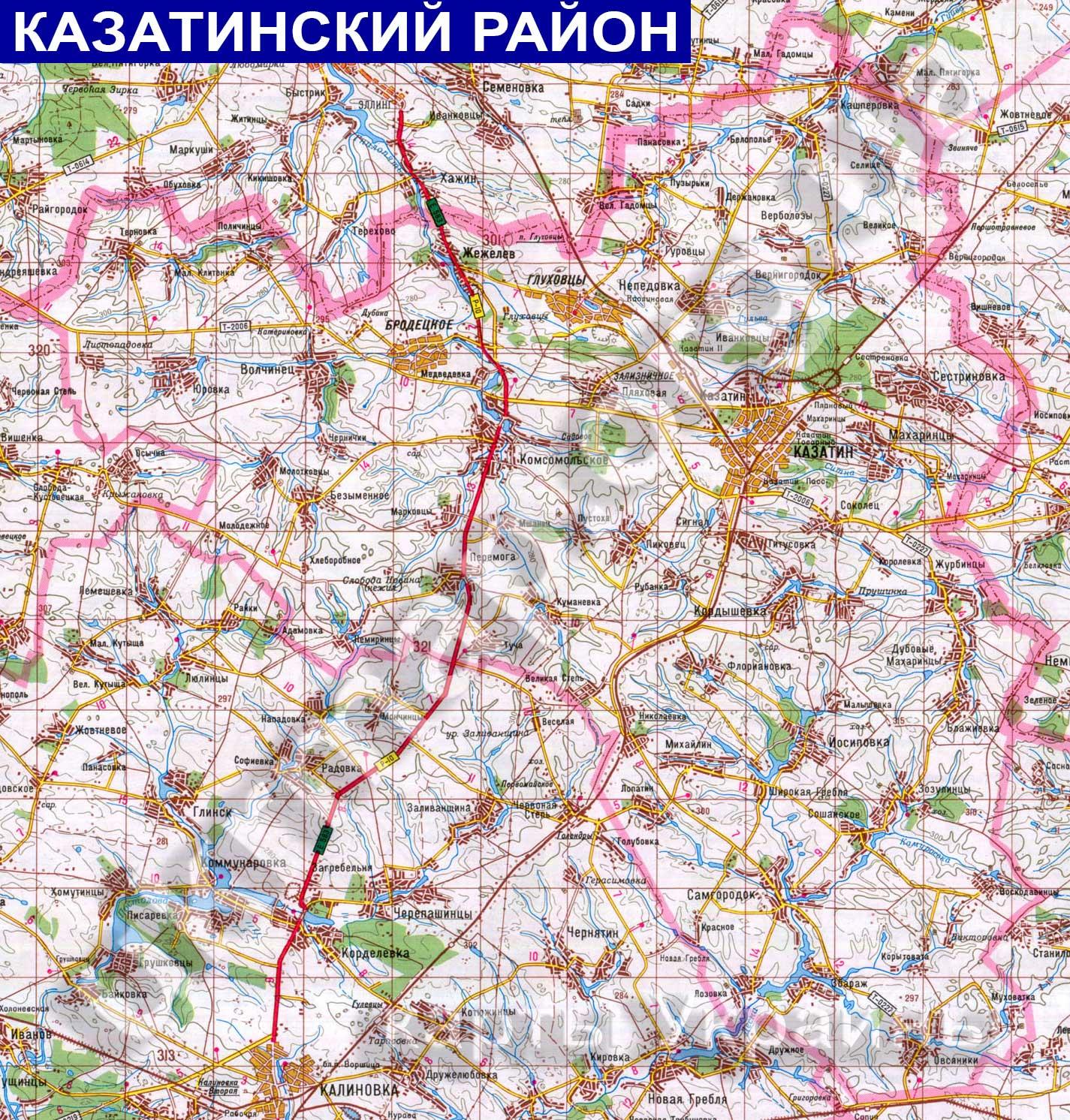 Подробная карта Казатинского района: http://ukrmap.org.ua/Pages/Rayony_oblastey_Ukraine/Kazatinskiy_rayon2.htm